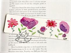 Lesezeichen, Original Illustration, Motiv gestapelte Piepmätze auf Geschenk