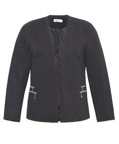 Blazer-Jacke in Waffelpiqué, schwarz Größe 48