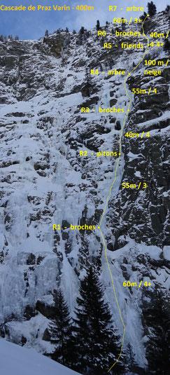 Cascade du lac du lait gorges du Doron Praz Varin Cascade de glace maurienne guide