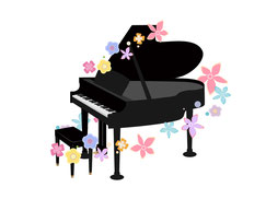 色とりどりの花とグランドピアノ