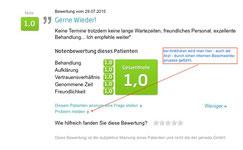Screenshot eine Bewertung auf jameda.de