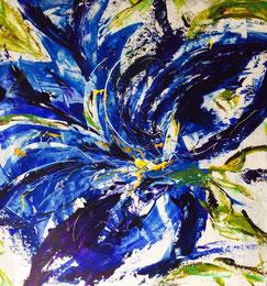 Blaue Blüte, Acryl auf Leinwand, JULIA! Neulinger-Kahl