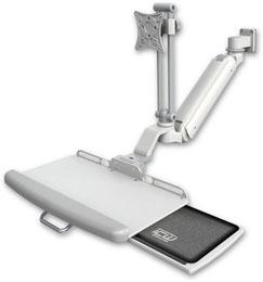 業務用モニターアーム ウォールチャネルマウント 昇降式 ディスプレイキーボード用アーム:ASUL182IEV7-W5-KUP