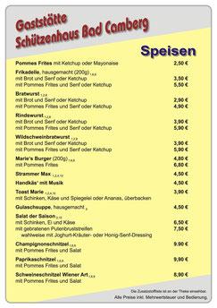 Camberg schützenhaus speisekarte bad Speisekarte im
