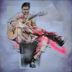 peinture streetart art contemporain guitariste de rue musique music guitare homme tableau