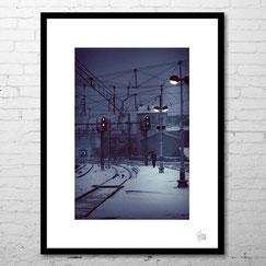 photographie d'art contemporain deco cadre train hiver rail ferroviaire lyon perrache neige