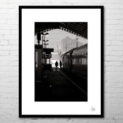 photo art encadrée deco artiste gare train noir et blanc