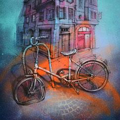 Faubourg Montmélian peinture art scène urbaine ville chambéry savoie tableau urbain rue streetart galerie d'art chambery savoie lyon grenoble