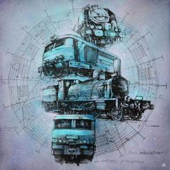 GRAFFMATT - oeuvre d'art contemporain la rotonde de chambéry gare sncf train savoie locomotive histoire peinture chambery