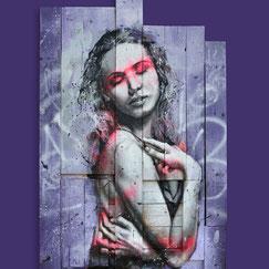 contemporary art portrait woman modern graffiti art streetart rose fluo noir et blanc black and white painting artwork piece art for sale fashion art streetart
