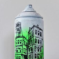 GRAFFMATT - Custom spraycan bombe peinture personnalisée customisation art toy spray paint bombe dessinée graff graffiti posa immeuble building ville city déco original