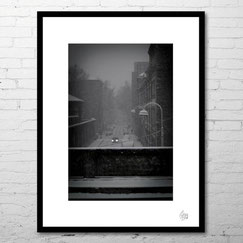 photo art contemporain rue nuit neige hiver noir et blanc pont lyon france