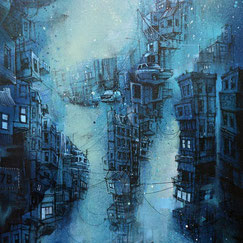 tableau art contemporain urbain ville sous l'eau monde imaginaire fantastique cité fond marin mer ocean streetart peinture graffmatt blue bleu