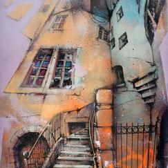 tableau-art-peinture-rubaine-rue-newyork-scene-urbaine-bleu-hiver-nuit-ville-GRAFFMATT-100x81-Blues-Traffic-