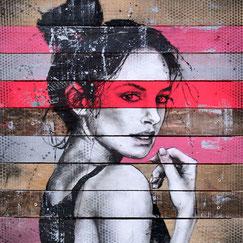graffmatt art urbain artiste francais france streetart graffiti fresque peinture sur bois femme élégance beauté sensuelle déco intérieur galerie art chambéry savoie