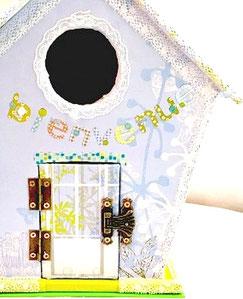 nichoir, personnalisé, personnalisation, dentelle, bleu, decoration, carton, boite, maison, miniature,