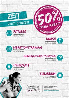 Banner unserer 50Prozent Aktion auf unsere 12er Karten in Fitness
