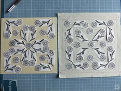 kitsc-paradise kp exposition encre de chine gravure gouge  atelier quadrillage biodiversité