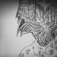 dmytruk graphick, dmitrukart, dmiytuk, дмитрук графика, графіка, муза, портрет, woman art, tree, forest portrait, чб арт,