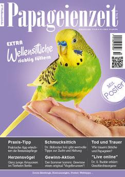 Papageienzeit Nr. 56 mit Themen über den Schmucksittiche, moderne App zur Bestandspflege, Gewinn-Aktion, wie unsere Vögel trauern, Vorträge, Willis richtig füttern