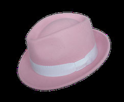 Hut Milano rosa mit Band in weiß