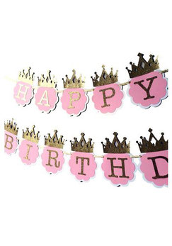 DIY Letterslinger Happy Birthday roze/goud met kroontjes € 2,99