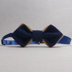 Noeud Papillon Pointu en Toile de Jute et Tissu Bleu Marine