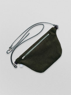 Bauchtasche - Cord - Cordtasche - Tasche - Lederriemen - gruen - flaschengruen - grün - olivgruen - dunkelgruen - dunkelgrün - zacamo - Gürteltasche - Umhängetasche - kleine Tasche