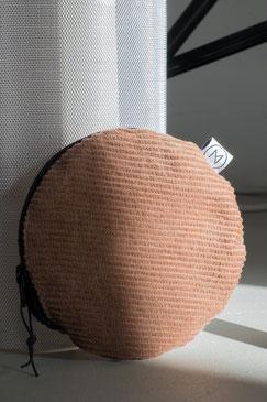 kleines Täschchen - kleiner runder Geldbeutel Cord - kleines Kosmetiktäschchen - braun - kamelbraun - Cord - Tasche - Zacamo