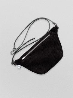 Bauchtasche - Cord - Cordtasche - Tasche - Lederriemen - schwarz - zacamo - Gürteltasche - Umhängetasche