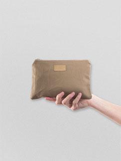 kleines Täschchen aus Baumwolle - brown - braun - Federmäppchen - Kulturbeutel - Etui - wasserabweisend - Täschchen - Ubangi - Zacamo - Beutel - Tasche -
