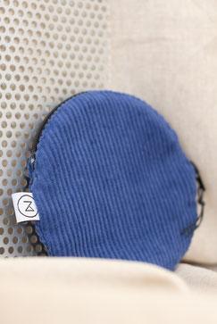 rundes Täschchen, blau, Cord