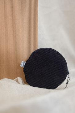 kleines Täschchen - kleiner runder Geldbeutel Cord - kleines Kosmetiktäschchen - schwarz - tiefschwarz - Cord - Tasche - Zacamo