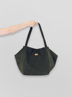 Tote Bag - totebag - große Tasche - Umhängetasche - Shopper - Cordtasche - Cord - lange Henkel - Tasche Cord - Unitasche - grün - flaschengrün - dunkelgrün - Damentasche - Tasche grün - Handtasche - Handtasche grün - Tasche dunkel