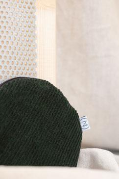 kleines Täschchen - kleiner runder Geldbeutel Cord - kleines Kosmetiktäschchen - grün - flaschengrün - Cord - Tasche - Zacamo
