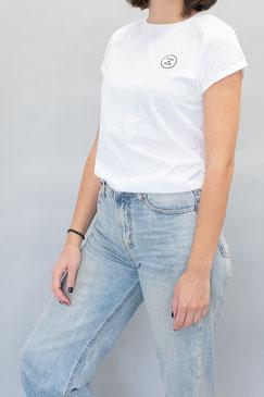 besticktes Shirt, weiß, Fairwear