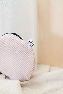 kleines Täschchen - kleiner runder Geldbeutel Cord - kleines Kosmetiktäschchen - rosa - puderrosa - Cord - Tasche - Zacamo