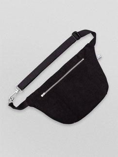 Bauchtasche Cord L - Bauchtasche - Cordtasche - Cord - vegane Tasche - Karabiner - Riemen - Reisverschluss - schwarz - tiefschwarz - dunkel - Männertasche -verstellbar - Handtasche - Tasche - Damentasche - Herrentasche - Umhängetasche - YKK - Innenfach