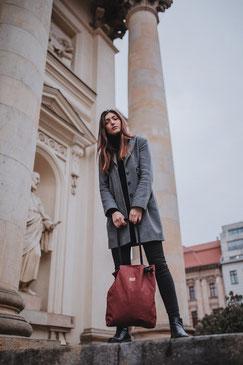 Shopper Mogami- Tragetasche - rot - dunkelrot - Damentasche - Handtasche - Tasche - Kordel - verstellbar - wasserabweisend - wasserfest - einkaufstasche - Shopper brick - brick - rot - dunkelrot
