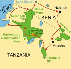 Kenia und Tanzania Lodgesafaris ab/bis Arusha
