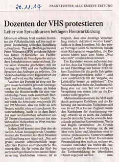 FAZ vom 20.11.2014 VHS-DozentInnen beklagen Honorarkürzung