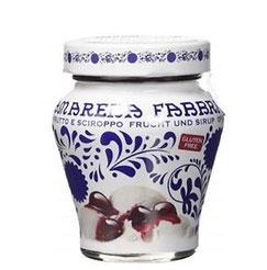 Amarena Fabbri: cereza negra confitadas sin huesos en almibar 7.50€ und); disponible el  tarro de 600 gr 15,00€