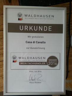 Wir sind sehr stolz von der Firma Waldhausen zum Reitsportfachhändler 2016 ausgezeichnet worden zu sein!