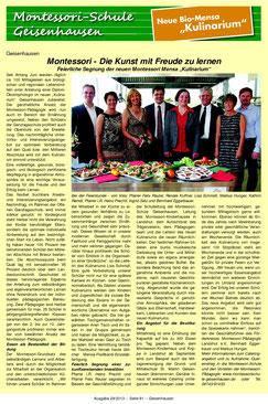 Artikel zur Eröffnung und Segnung des Kulinarium im Vilstalboten vom 18.07.13