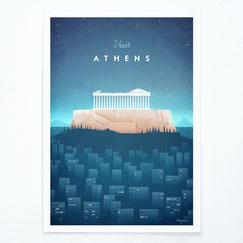 Schöne Orte Athen Poster im skandinavischen Stil