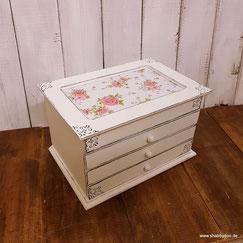 Schmuckkasten Holz in weiß mit Rosen