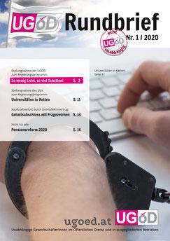 Titelseite des UGÖD-Rundbrief 1/2020