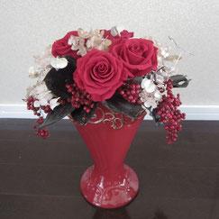 フラワーセラピー,赤の花、8500円オーダーメイドフラワー,プリザープド