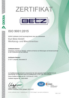 Kurt Betz GmbH Qualitaetsmanagement Zertifikat ISO 9001 2015