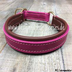 Zugstopp Halsband Hund Fettleder Pink, Rosa, Braun, Messing